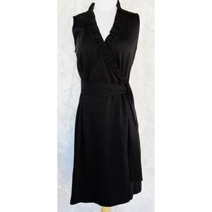 ANN TAYLOR Dress 6 Ruffles Zipper Faux Wrap Black